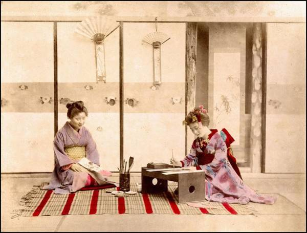 Note Book Painting - writing  Handcolored japanese albumen print from a tourists album of the early 20th century  by Celestial Images