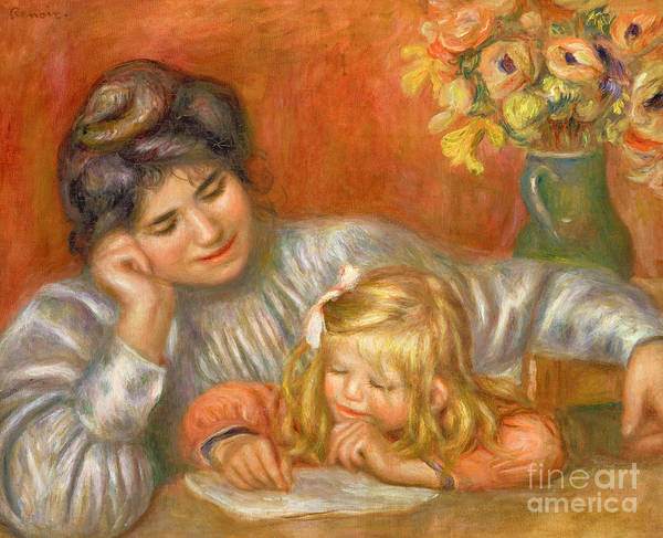 Wall Art - Painting - Writing Lesson Gabrielle And Claude, 1905 by Pierre Auguste Renoir