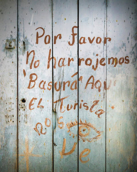 Photograph - Writing On An Old Wooden Door Historical Honda Tolima Colombia by Adam Rainoff