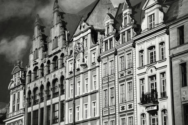 Wall Art - Photograph - Wroclaw Poland Architecture Of Market Square Black And White by Carol Japp