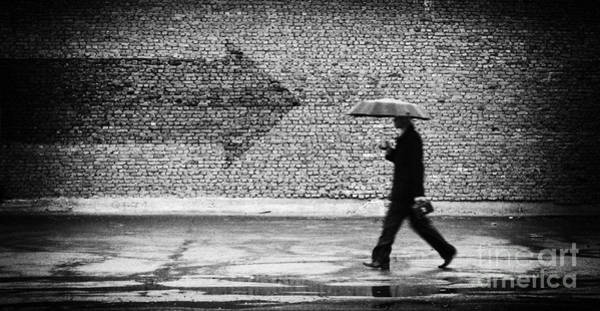 Wall Art - Photograph - Wrong Way. A Man With Umbrella by Drop Of Light