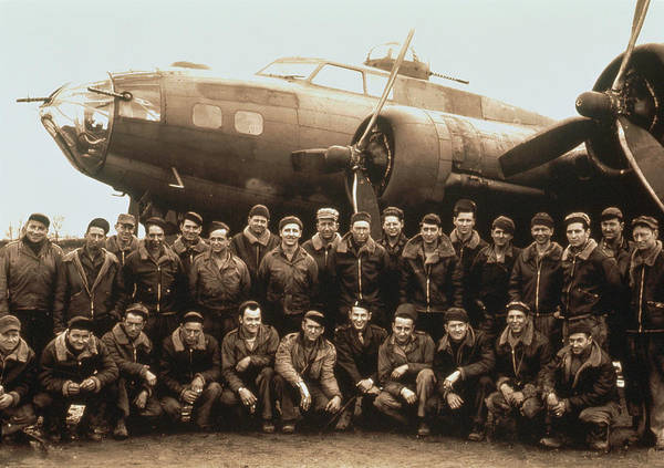 B-17 Bomber Photograph - Ww II B-17 Bomber And Crew, Portrait by Frank Whitney