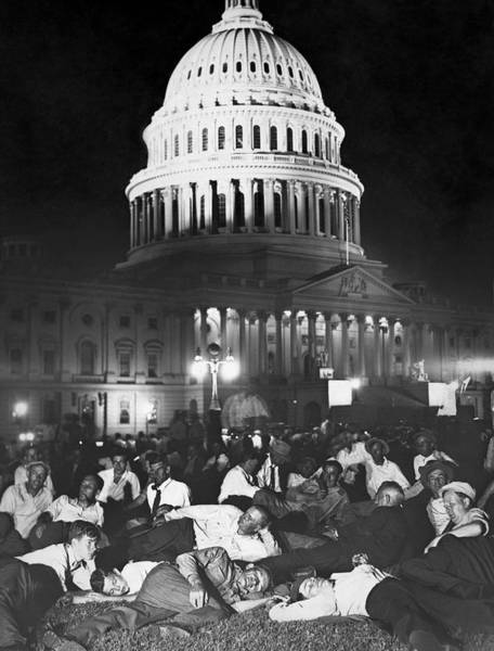 Wall Art - Photograph - Wwi Bonus Army Camped At Capitol - 1932 by War Is Hell Store