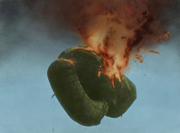 Wall Art - Photograph - Wwi, Parachute On Fire by Science Source