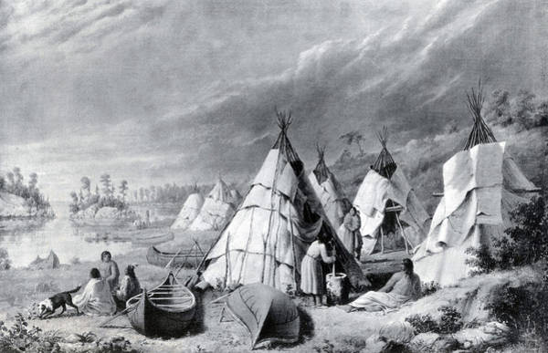 Wall Art - Painting - Wyandot Indian Encampment, Lake Huron by Science Source