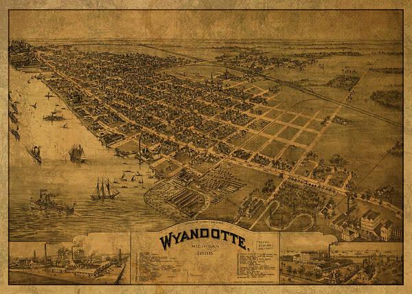 Wall Art - Mixed Media - Wyandotte Michigan Vintage City Street Map 1896 by Design Turnpike