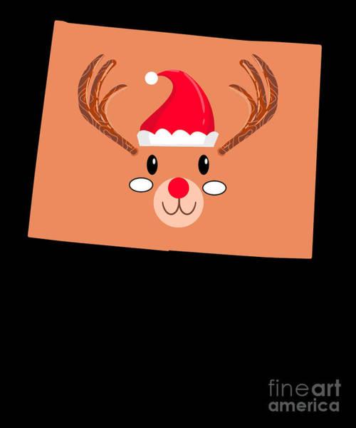 Ugly Digital Art - Wyoming Christmas Hat Antler Red Nose Reindeer by TeeQueen2603