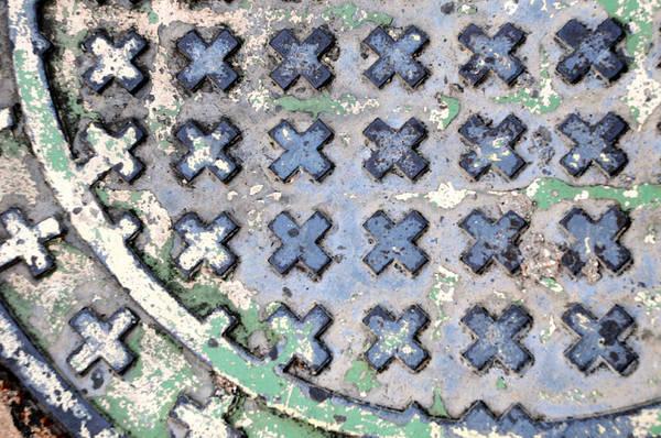 c2f1d8a96 Manhole Wall Art - Photograph - X Manhole Cover Steel by David Kozlowski