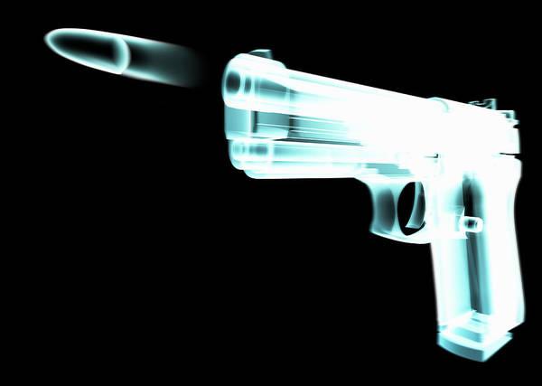 Danger Digital Art - X-ray Of Gun Firing Bullet Digital by Gary Cornhouse