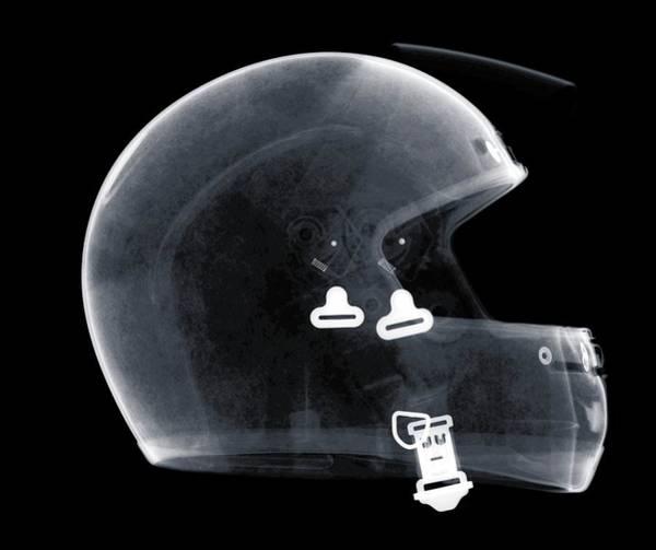 Crash Helmet Photograph - X-ray Of Motorcycle Helmet by Nick Veasey