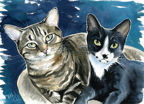 Tuxedo Cat Painting - Xani And Zach Cat Painting by Dora Hathazi Mendes