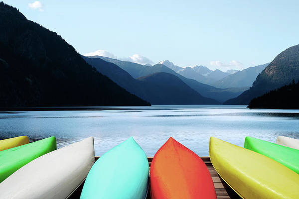 Recreational Boat Photograph - Xl Canoes And Mountain Lake by Sharply done