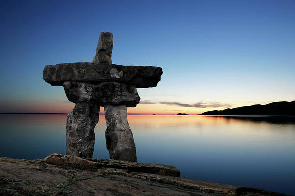 Yukon Territory Photograph - Xl Inukshuk Twilight by Sharply done