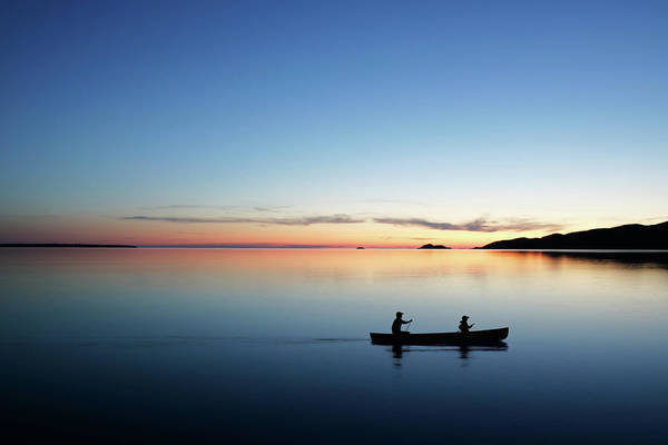 Lake Superior Photograph - Xl Twilight Canoeing by Sharply done
