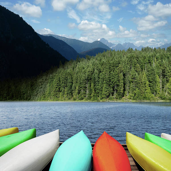 Recreational Boat Photograph - Xxl Canoes And Mountain Lake by Sharply done