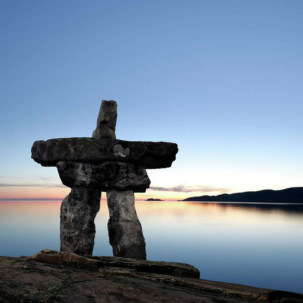 Yukon Territory Photograph - Xxl Midnight Sun Inukshuk by Sharply done