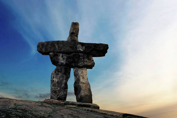 Wall Art - Photograph - Xxxl Inukshuk Sunset by Sharply done