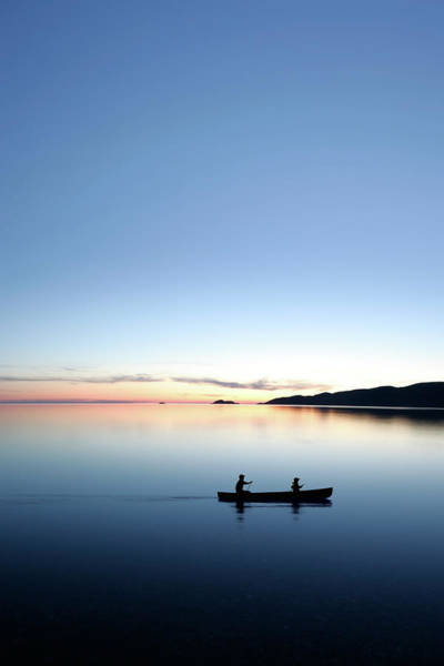 Lake Superior Photograph - Xxxl Twilight Canoeing by Sharply done