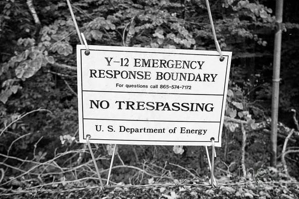 Wall Art - Photograph - Y-12 Complex Emergency Response Boundary In The Former Secret City Of Oak Ridge Tennessee Usa by Joe Fox
