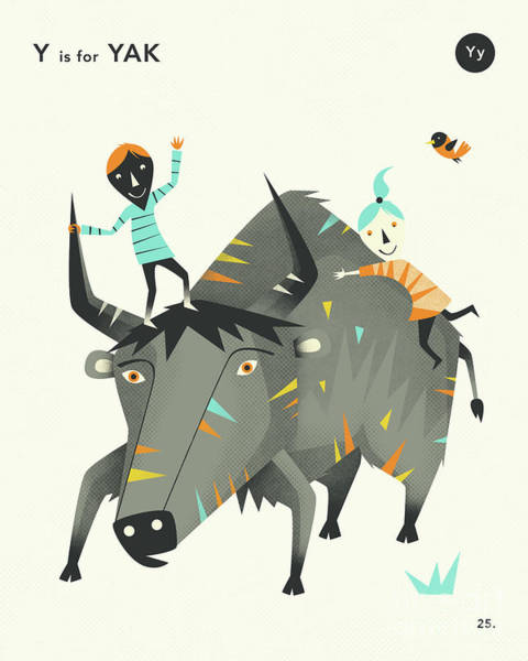 Illustrator Wall Art - Digital Art - Y Is For Yak 2 by Jazzberry Blue