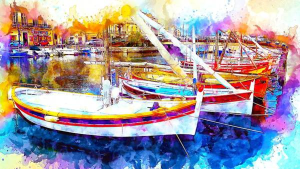Wall Art - Painting - Yacht Harbor by ArtMarketJapan