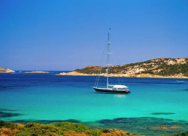 Costa Smeralda Photograph - Yacht In Picturesque Bay by Ellen Rooney