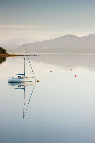 Moored Photograph - Yacht Moored On Banks Of Loch Ainort On by David Clapp