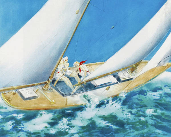 Wall Art - Painting - Yacht Race - Digital Remastered Edition by Louis Icart