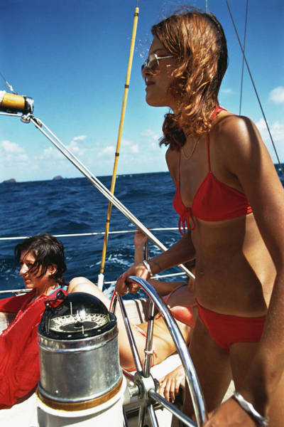 Steering Wheel Wall Art - Photograph - Yachting In The Caribbean by Slim Aarons