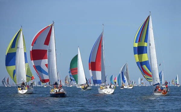 On The Move Photograph - Yachts Flying Spinnakers During Race by Simon Battensby
