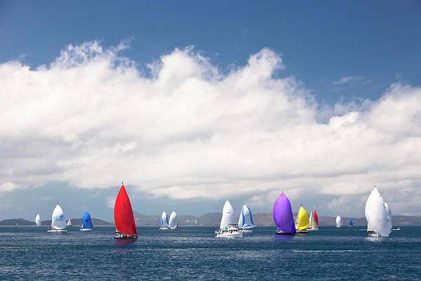 Spinnaker Photograph - Yachts Sailing Under Spinnaker by Andrew Watson