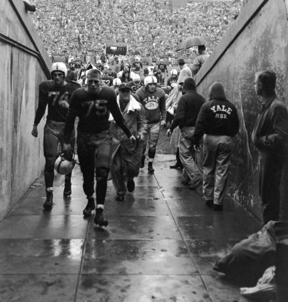 Crowd Photograph - Yale Football Team Leaves Field by Getty Images