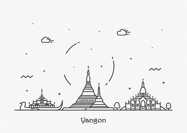 Drawing - Yangon Cityscape Travel Poster by Inspirowl Design