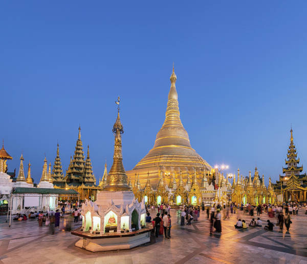 Photograph - Yangon, Shwedagon Pagoda At Sunrise by Martin Puddy