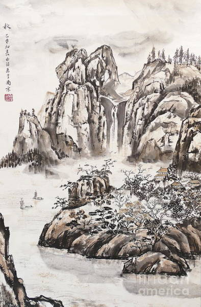 Wall Art - Painting - Yangze River With Water Fall by Birgit Moldenhauer