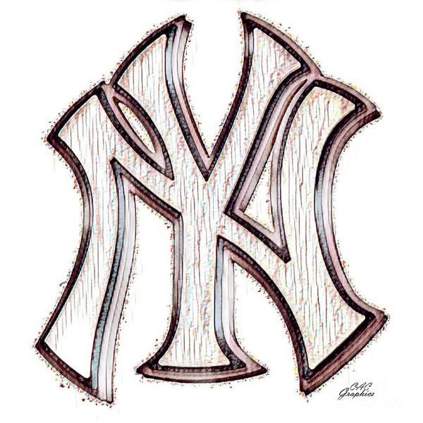 Digital Art - Yankees Rustic Ny Logo by CAC Graphics