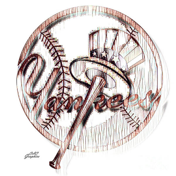 Painting - Yankees Rustic Top Hat Logo by CAC Graphics