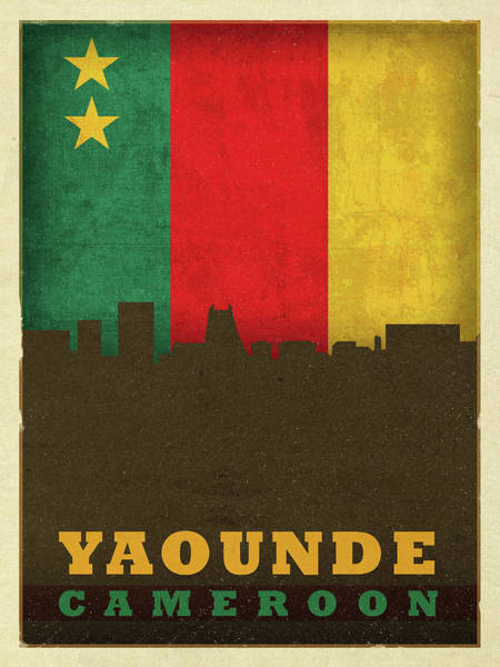 Wall Art - Mixed Media - Yaounde Cameroon City Skyline Flag by Design Turnpike