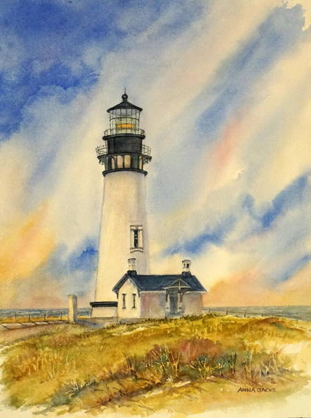 Painting - Yaquina Head - Late Afternoon Sunlight by Anna Jacke