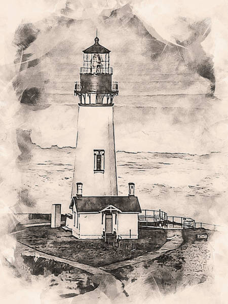 Painting - Yaquina Head Light, Oregon - 01 by Andrea Mazzocchetti