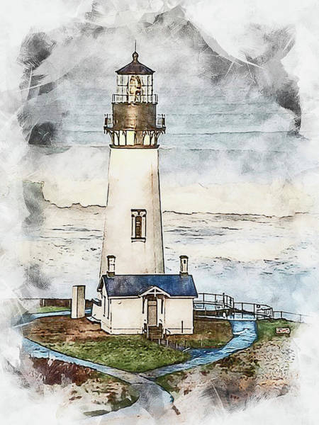 Painting - Yaquina Head Light, Oregon - 02 by Andrea Mazzocchetti