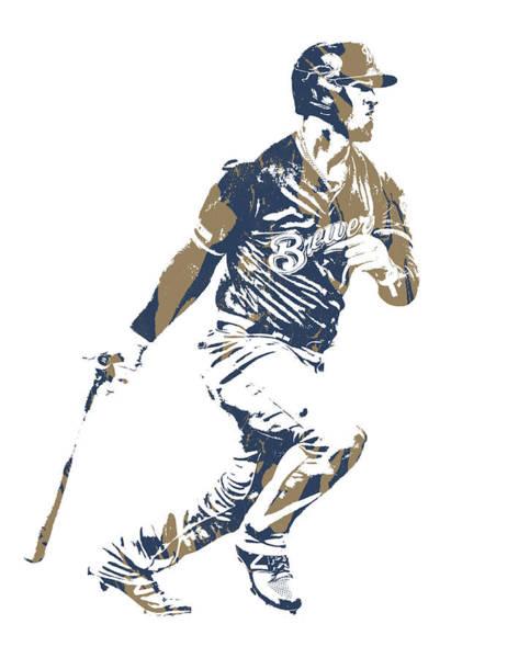 Wall Art - Mixed Media - Yasmani Grandal Milwaukee Brewers Pixel Art 1 by Joe Hamilton