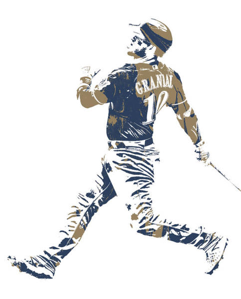 Wall Art - Mixed Media - Yasmani Grandal Milwaukee Brewers Pixel Art 2 by Joe Hamilton