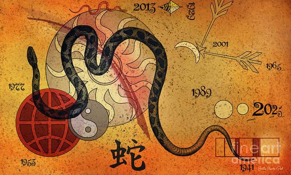 Digital Art - Year Of The Snake by Jutta Maria Pusl