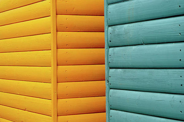 Beach Hut Photograph - Yellow & Blue Beach Huts Abstract by Kevin Button