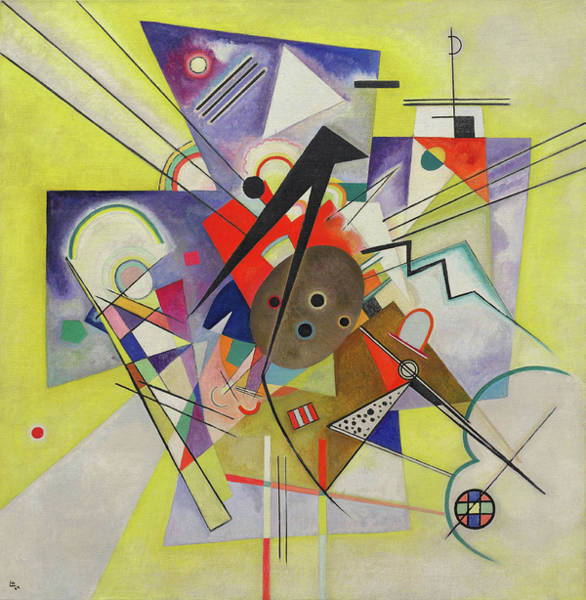 Visual Illusion Wall Art - Painting - Yellow Accompaniment - Gelbe Begleitung by Wassily Kandinsky
