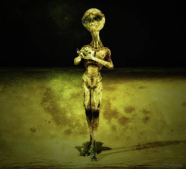 Et Digital Art - Yellow Alien by Ramon Martinez