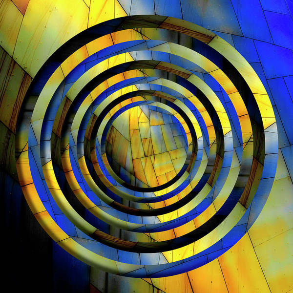 Golden Circle Photograph - Yellow And Blue Metal Circles by Pelo Blanco Photo