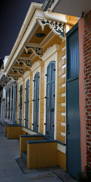 Photograph - Yellow And Blue Ornate French Quarter House by Debi Dalio