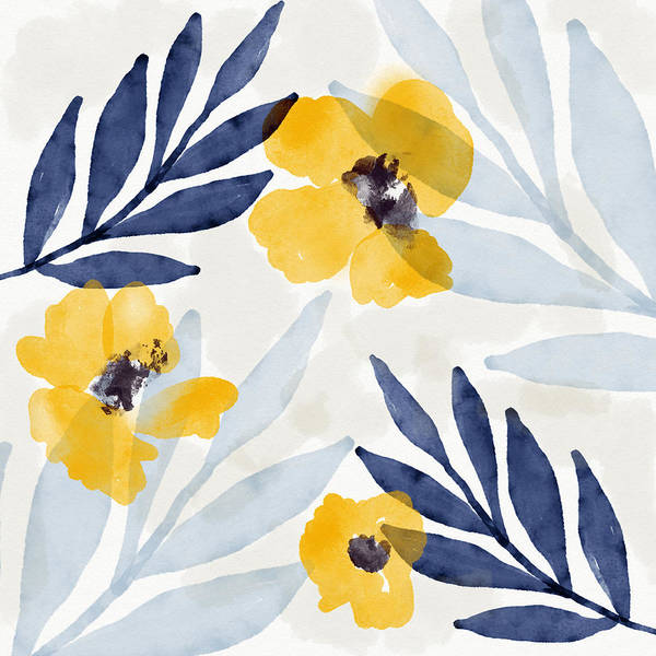 Leafs Mixed Media - Yellow And Navy 1- Floral Art By Linda Woods by Linda Woods